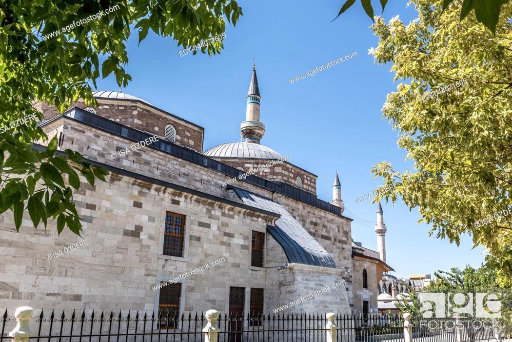 Stock Photo: Exterior view of Mevlana museum in Konya,Turkey. 28 August 2017.