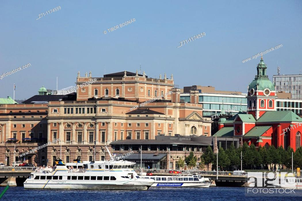 Stock Photo: Sweden, Stockholm, Opera, Jakobs Church, harbour, boats,.