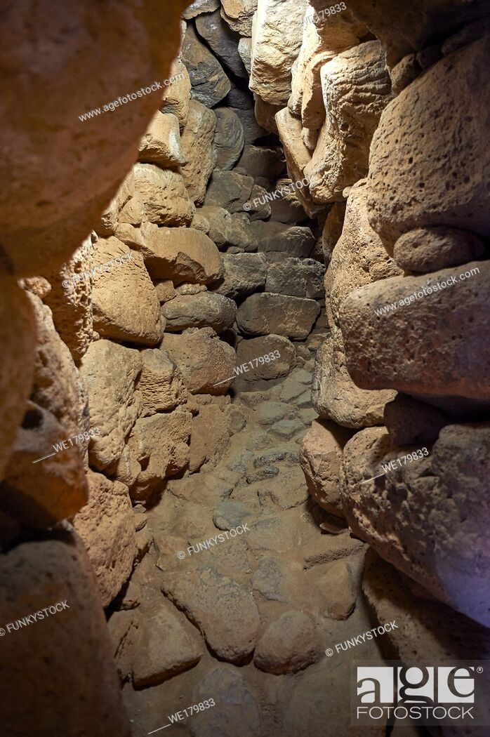 Stock Photo: Picture and image of the prehistoric p[assageway inside the walls of Nuraghe Losa, archaeological site, Bronze age (14 -9 th century BC), Abbasanta.
