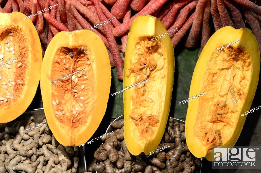 Stock Photo: Pumpkin slices with seeds near Pune, Maharashtra.