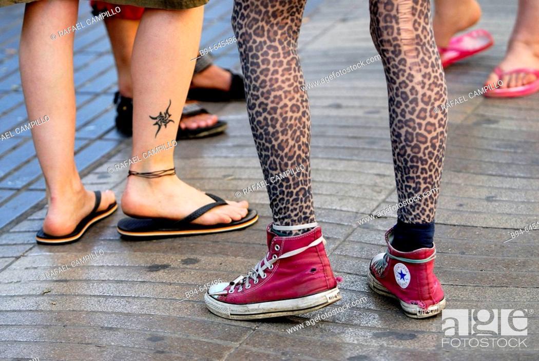 Stock Photo: Feet. Las Ramblas. Barcelona. Catalonia, Spain.