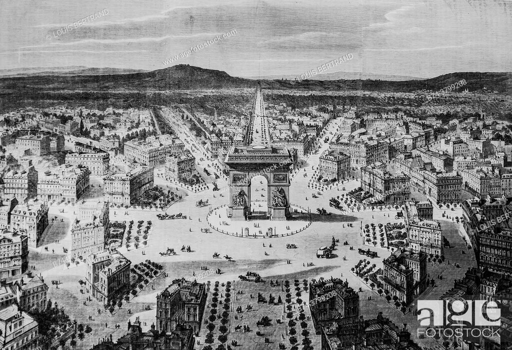 Stock Photo: general view of the roundabout of the star in paris, the illustrated universe, editor michel levy 1868.