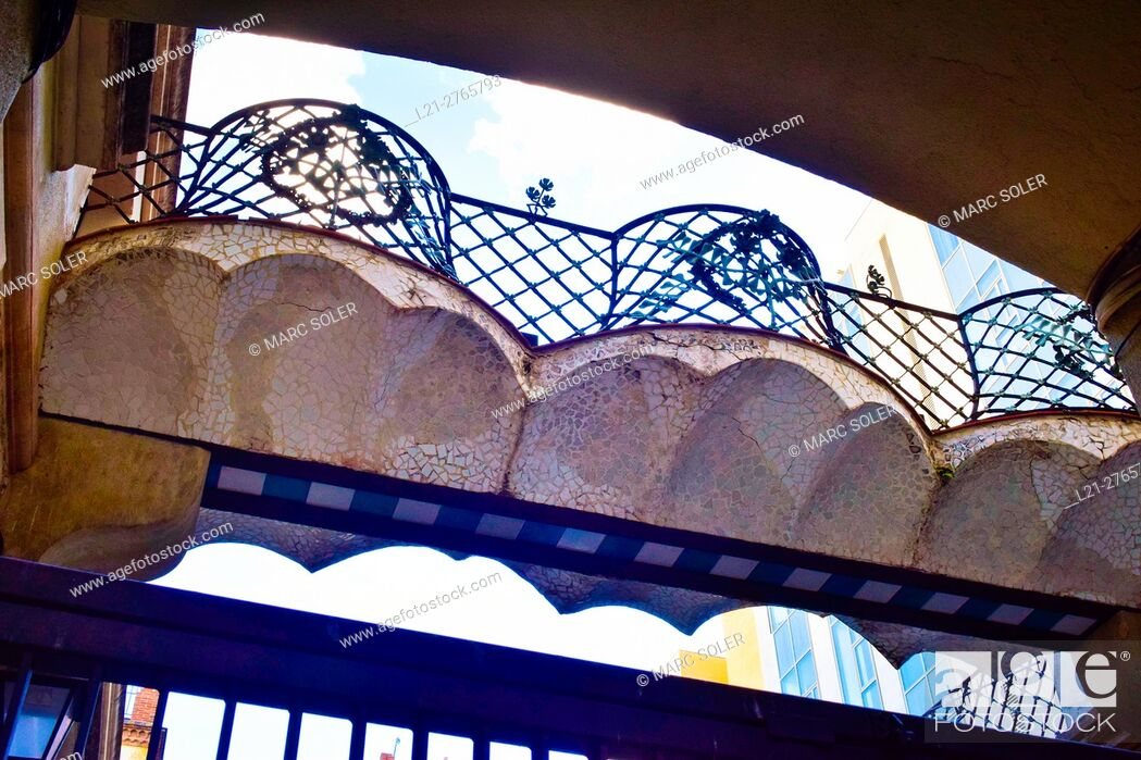 Stock Photo: Bridge in modernist style. Barcelona, Catalonia, Spain.