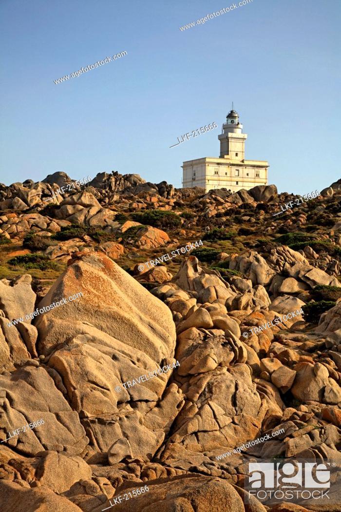 Stock Photo: Italy Sardinia Capo Testa bizarre rock landscape lighthouse.
