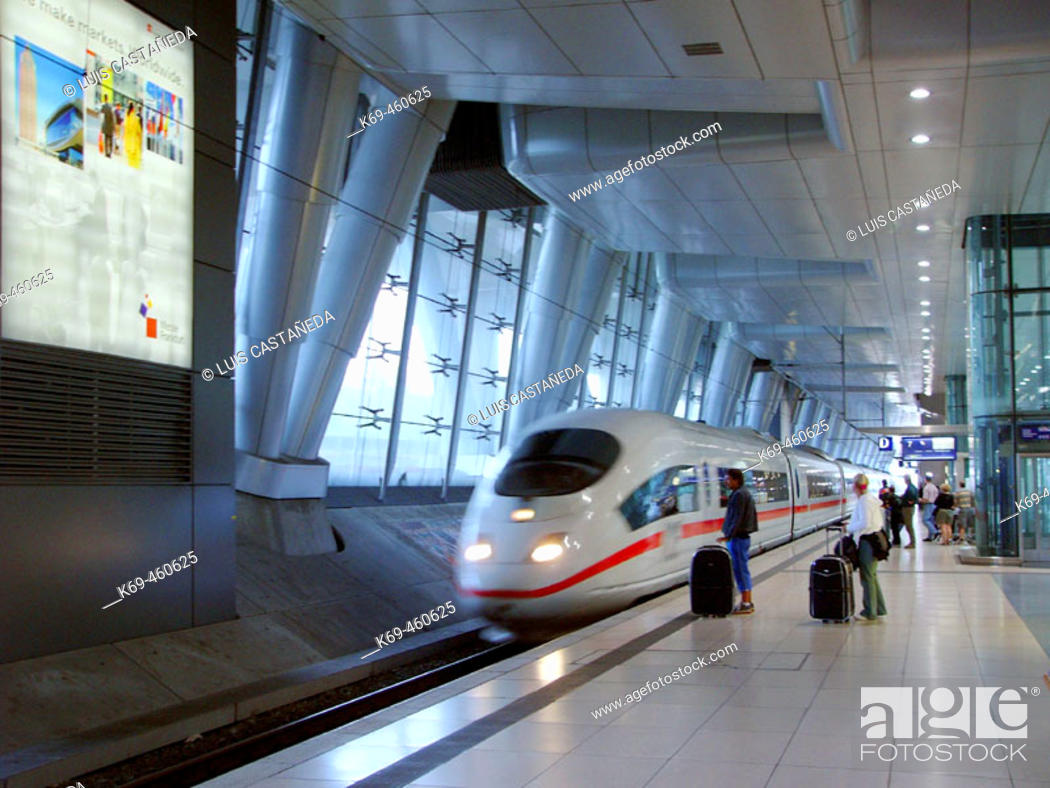 Stock Photo: Airport train station, ICE train. Frankfurt am Main, Germany.