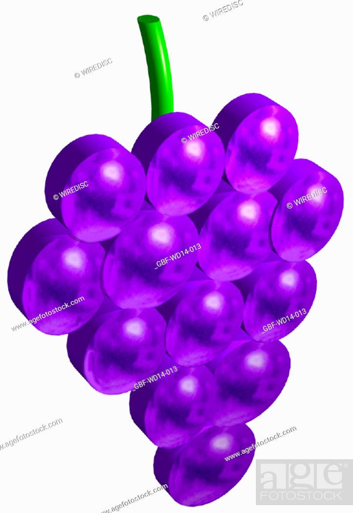 Stock Photo: Illustration, fruit, grape.