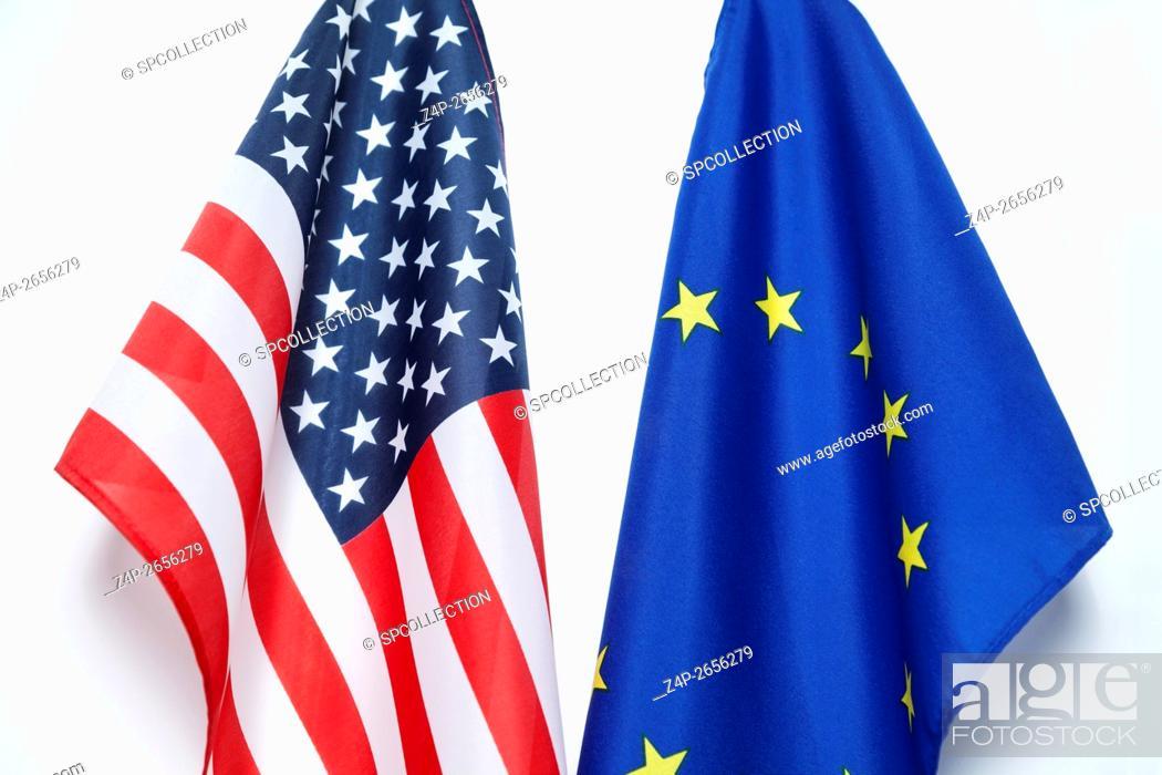 Stock Photo: European and US Flag.
