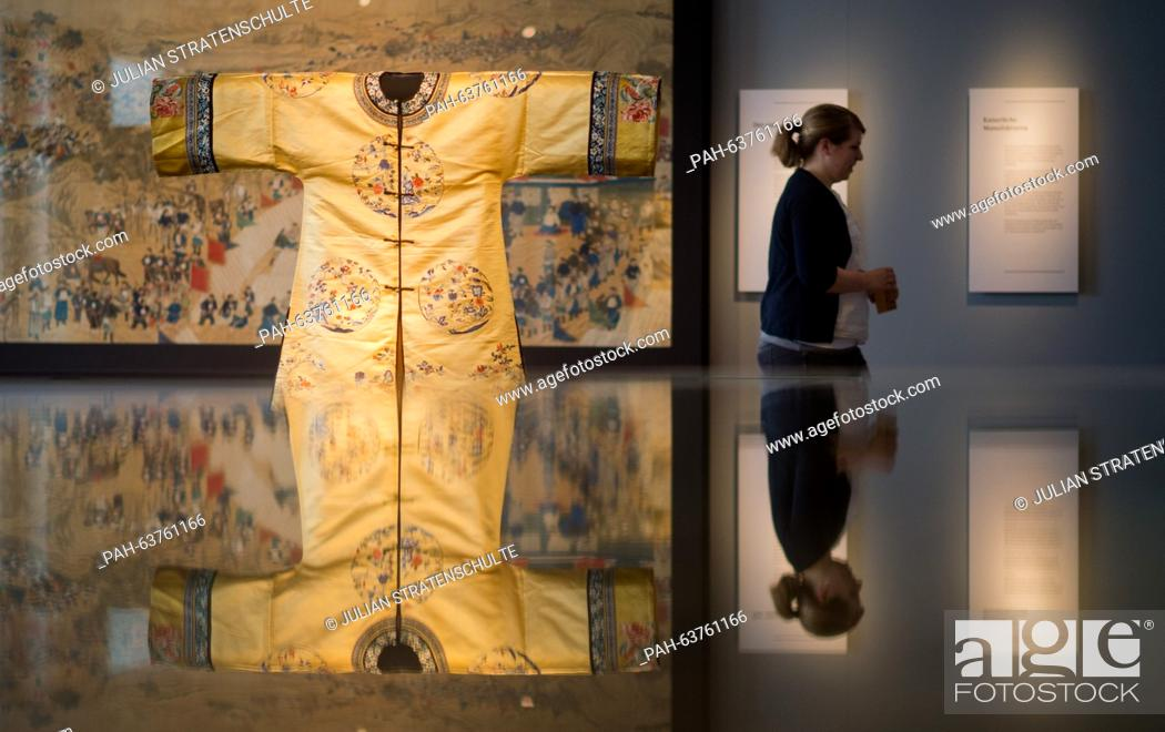 Stock Photo: A palace robe (18th century) can be seen in the exhibition 'Treasures for the Emperor - Masterpieces of Chinese Art (1369-1911) in the Roemer and Pelizaeus.