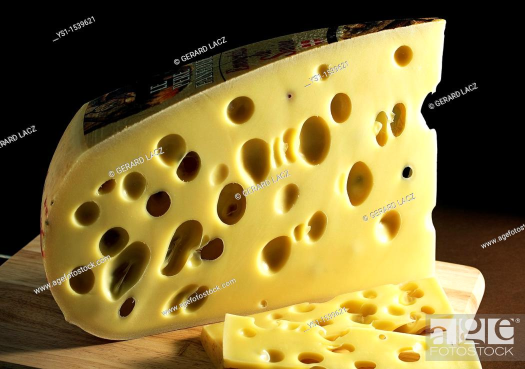 Stock Photo: Emmental, Swiss Cheese made from Cow's Milk.