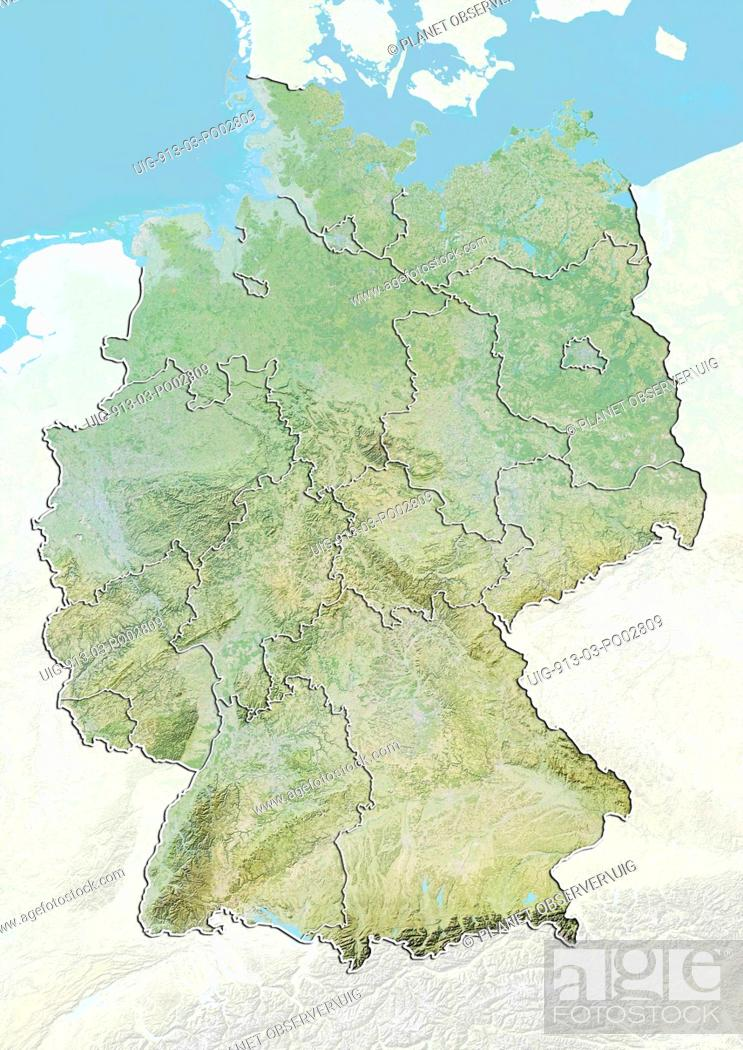 Elevation Map Of Germany.Relief Map Of Germany With Boundaries Of States This Image Was