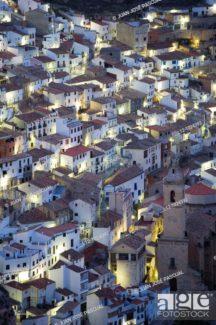 Stock Photo: Houses and church, Alcalá de Júcar, Albacete province, Castilla la Mancha, Spain.