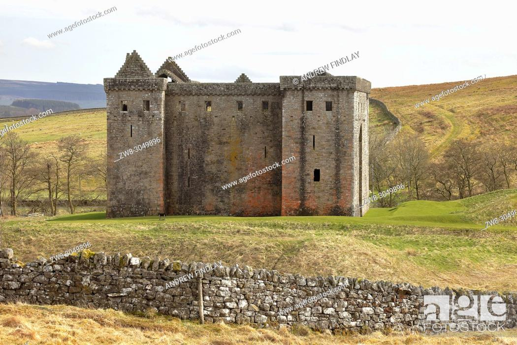 Stock Photo: Hermitage Castle, Newcastleton, Roxburghshire, Scottish Borders, Scotland, built in the 14th and 15th centuries, located in the debatable lands between England.