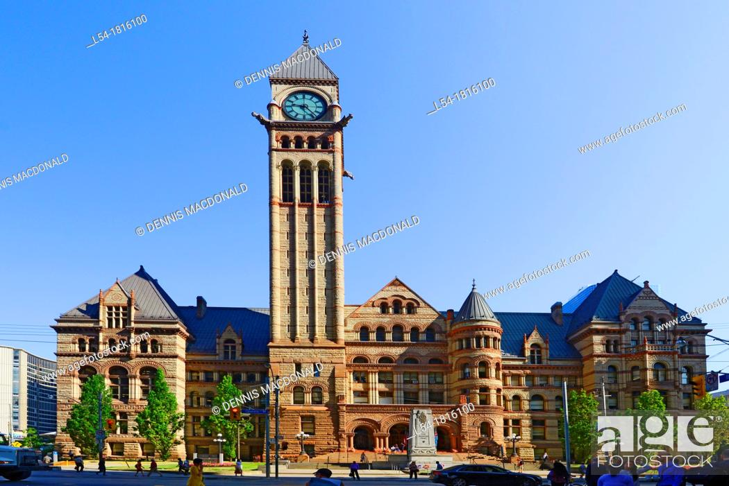 Stock Photo: Old City Hall with clock tower and court of justice Toronto Ontario Canada.