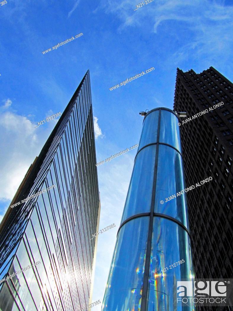 Stock Photo: The Potsdamer Platz 11 Building. On the right, the Kollhoff Tower. Potsdamer Platz, Berlin, Germany, Europe.