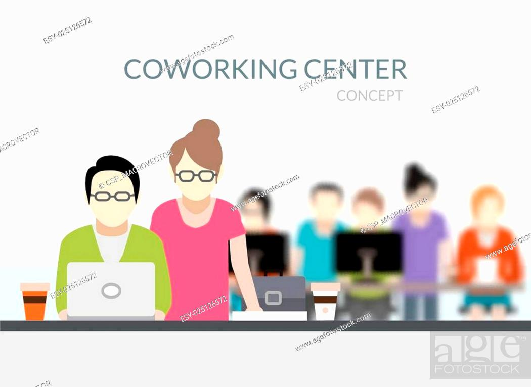 Stock Vector: Coworking Center Composition.