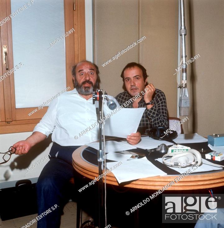 Marcello Marchesi And Maurizio Costanzo At Quarto Programma Stock