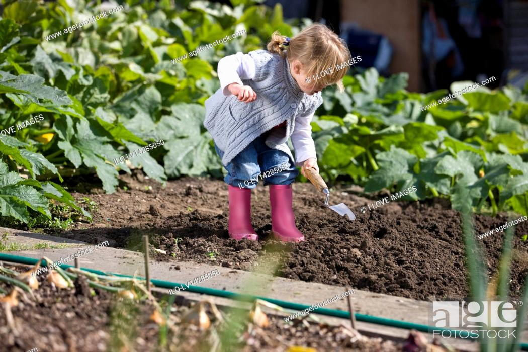 Stock Photo: A young girl digging on an allotment.