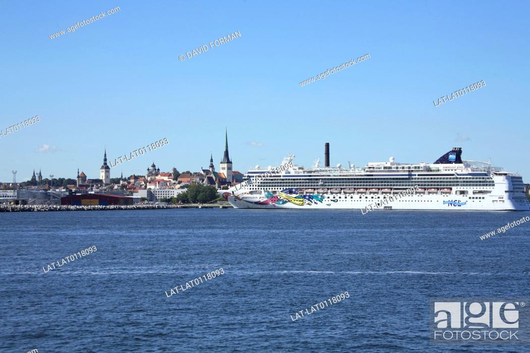 Stock Photo: Tallinn is a large Baltic Sea port and on the cruise boat route as a popular destination. It is a UNESCO World Heritage site.
