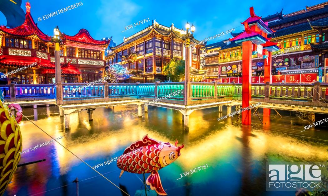 Stock Photo: Beautiful lighting and decorations set up at Yu Garden for the Lantern Festival during Lunar New Year celebrations , Shanghai, China.