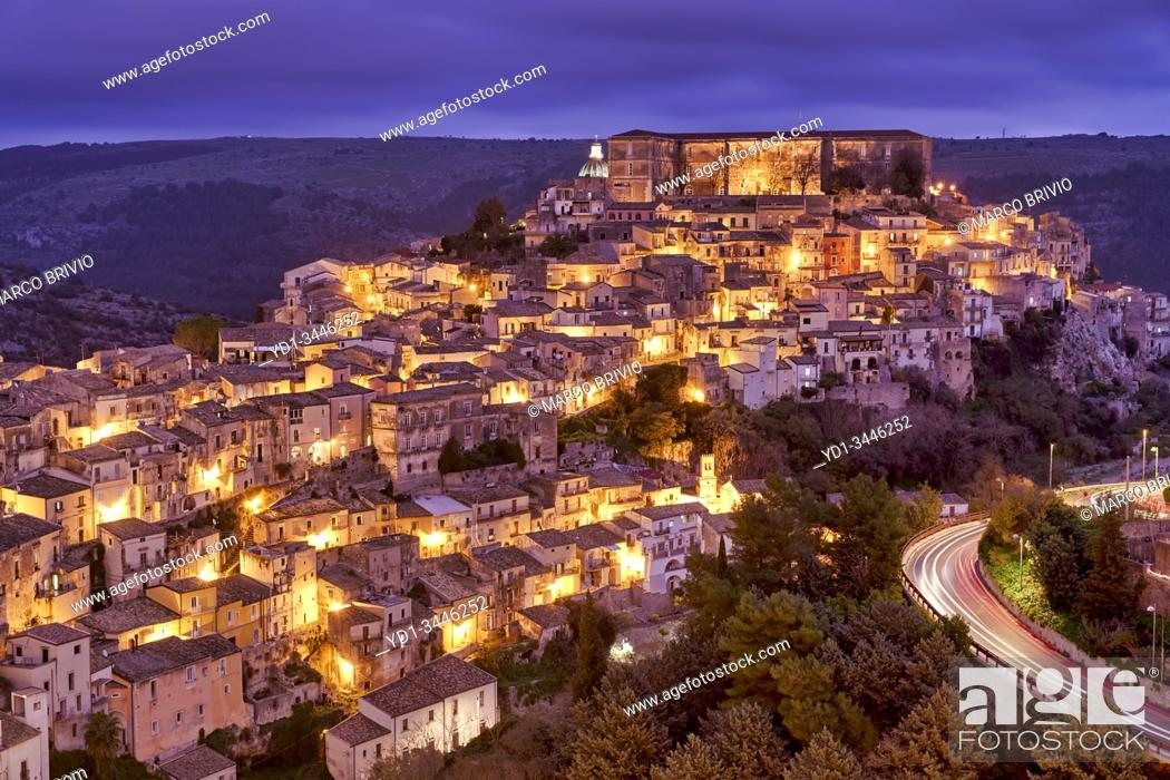 Stock Photo: Panorama view of Ragusa Ibla old town at sunset. Sicily Italy.