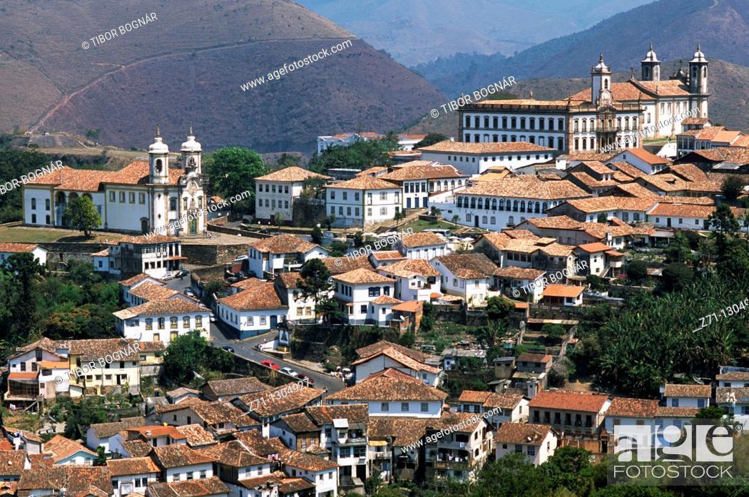 Stock Photo: Brazil, Minas Gerais, Ouro Preto, general view,.