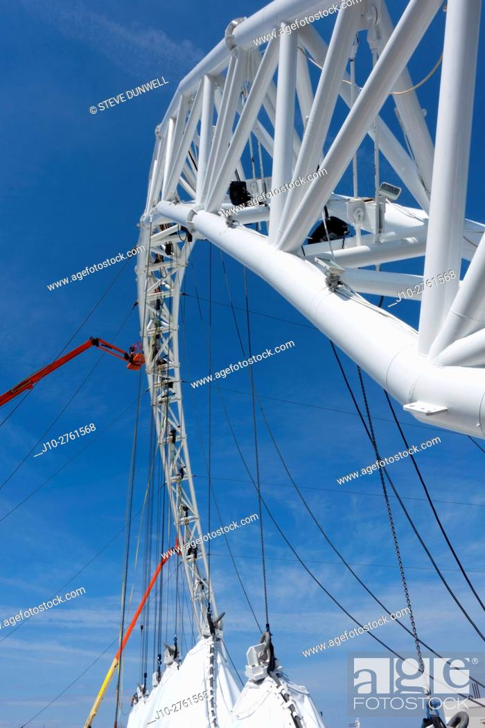 Stock Photo: Supporting arch at performance tent harborside rigging, Boston, Massachusetts, USA.