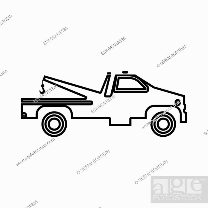 Vector: Breakdown truck it is black icon . Flat style.
