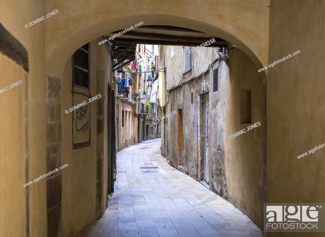 Stock Photo: The Gothic Quarter in Barcelona, Catalonia, Spain, Europe.