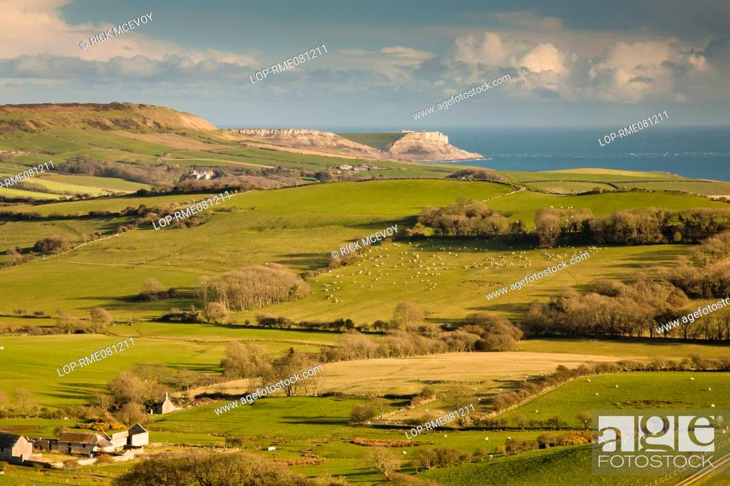 Stock Photo: England, Dorset, near Church Knowle. View from the Purbeck Hills near Church Knowle over rural pastures towards the coast and cliffs of the Jurassic Coast.