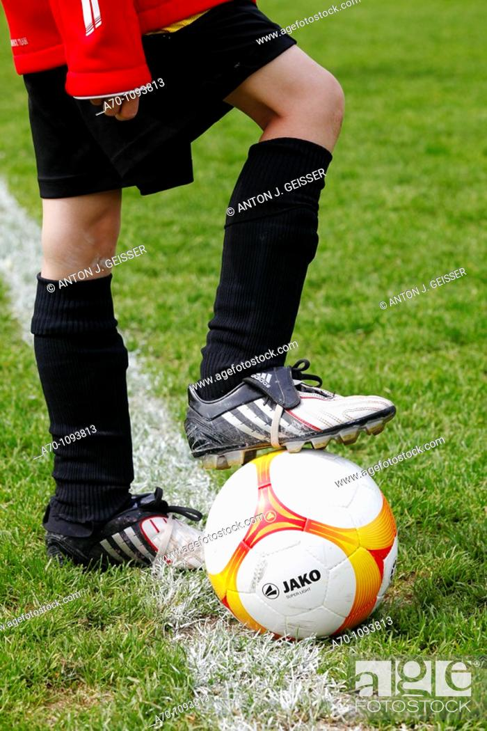 Stock Photo: Soccer player with ball.