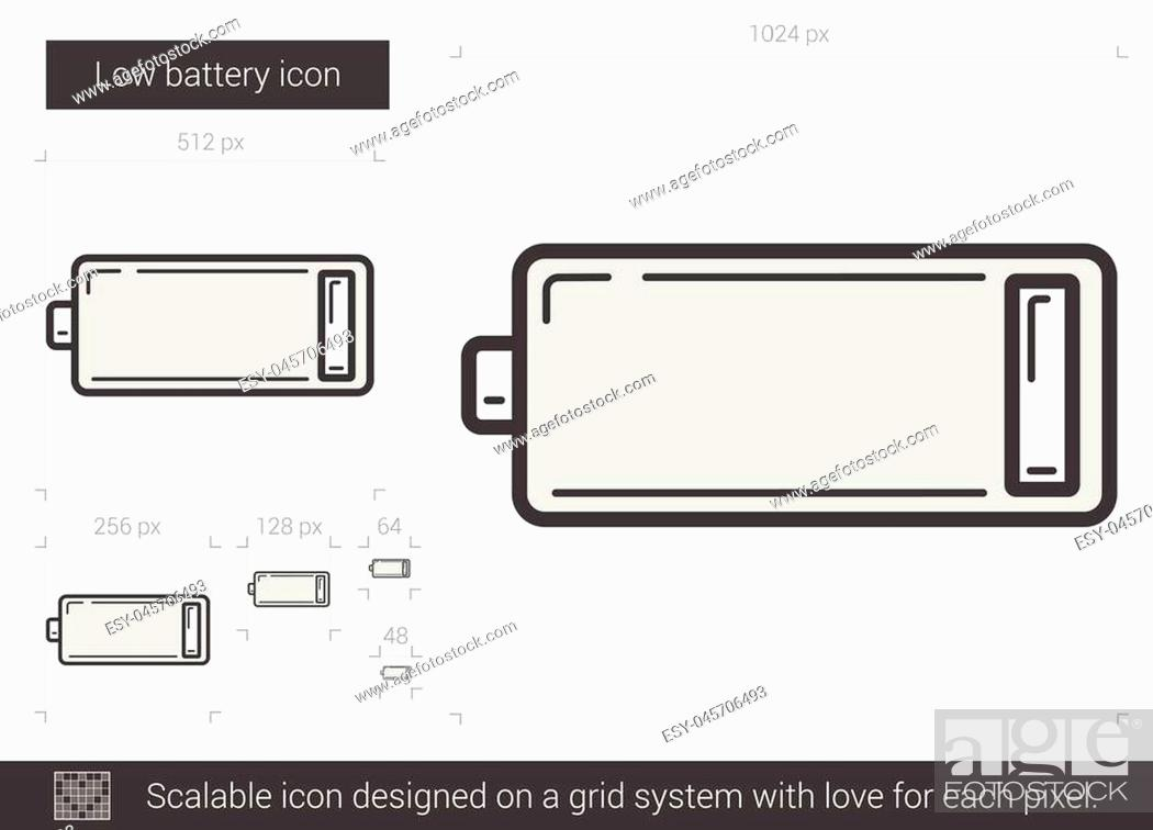 low battery vector line icon isolated on white background stock vector vector and low budget royalty free image pic esy 045706493 agefotostock 2