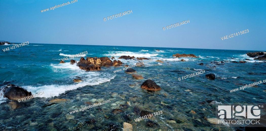 Stock Photo: landscape, stone, scenery, sky, wave, rock.