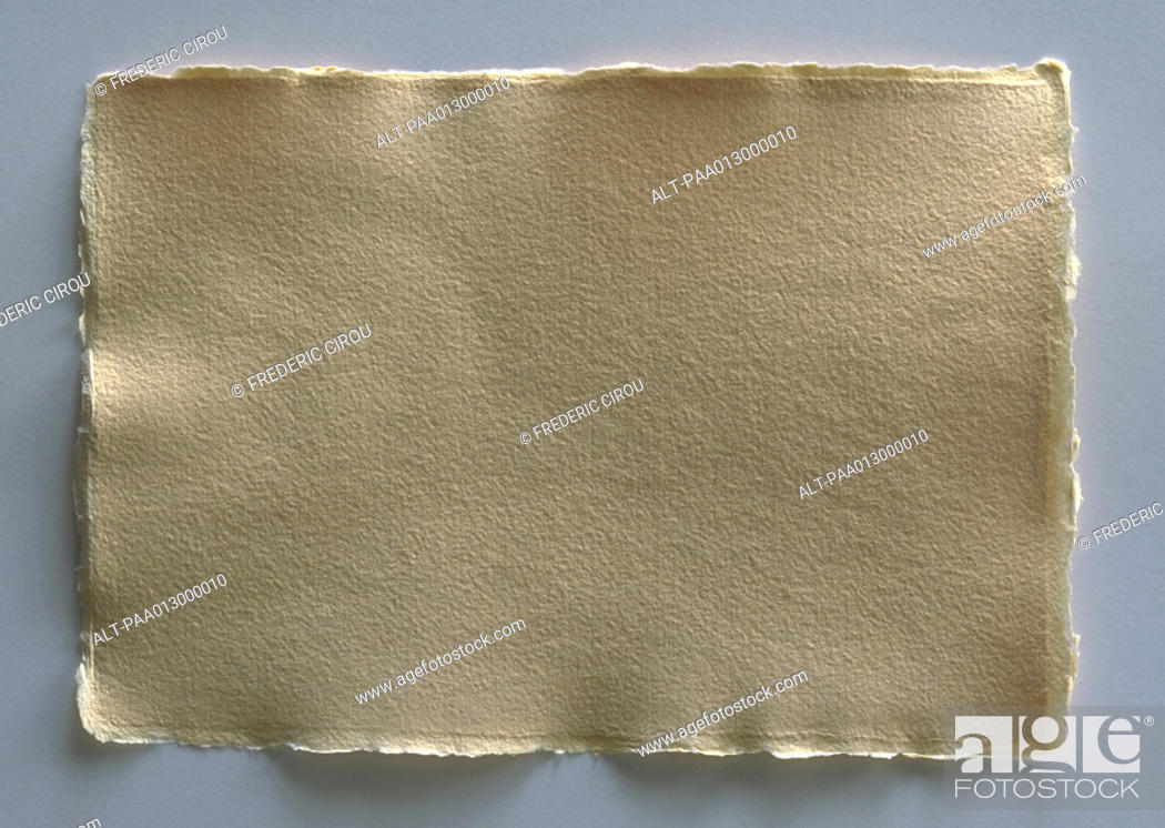 Stock Photo: Rectangle of textured, off-white paper with rough edges, full length.