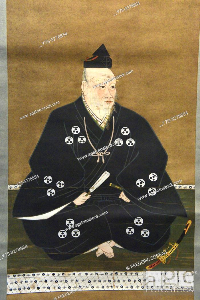 Stock Photo: Portrait of Mori Motonari, color on paper, Showa era, 20 th century, original from Azuchi-Momoyama period, 16 th century, Tokyo National Museum, Tokyo, Honshu.