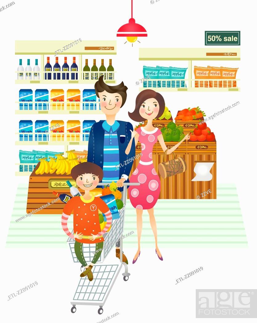 Stock Photo: family portrait doing shopping from supermarket.