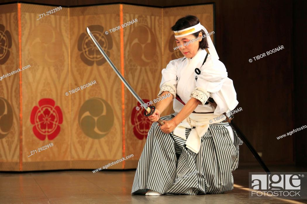 Stock Photo: Japan, Kyoto, Gion Matsuri, festival, traditional performance, sword dancer,.