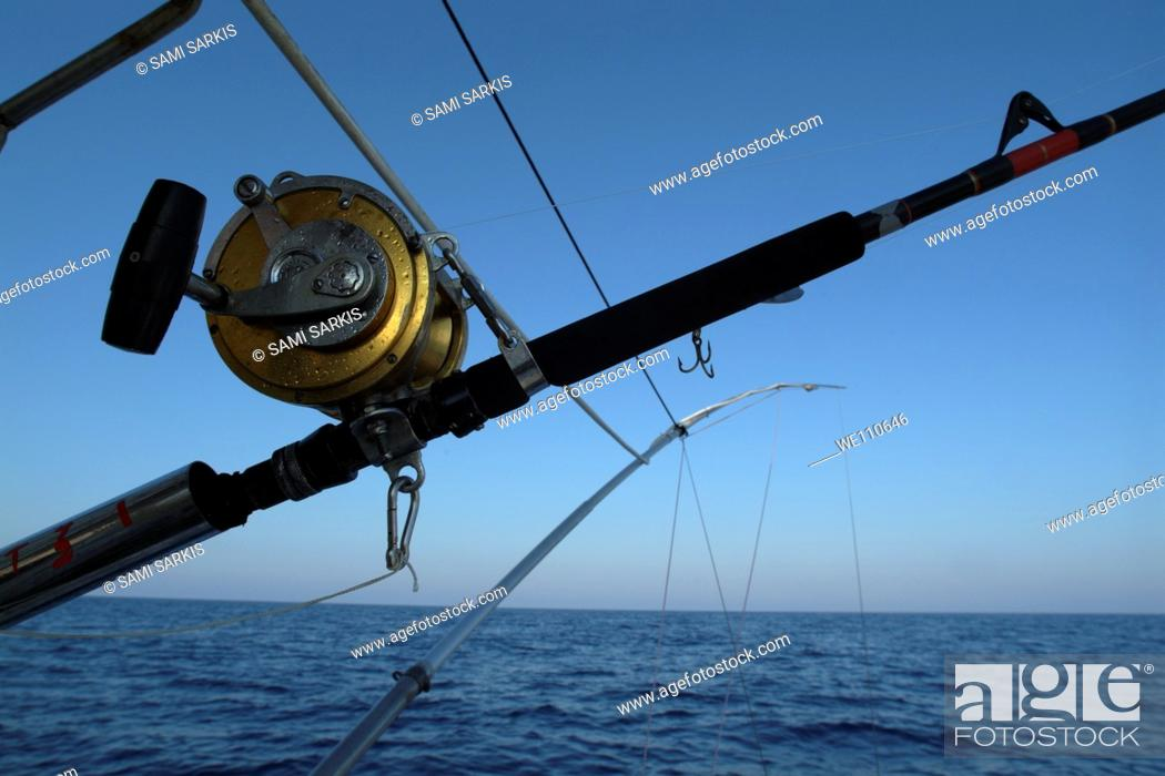 Stock Photo: Fishing rods onboard a boat in the Mediterranean Sea, France.