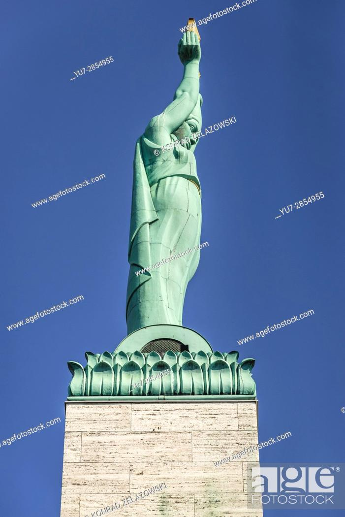 Stock Photo: Figure of Liberty of Freedom Monument honouring soldiers killed during the Latvian War of Independence in Riga, capital city of Republic of Latvia.