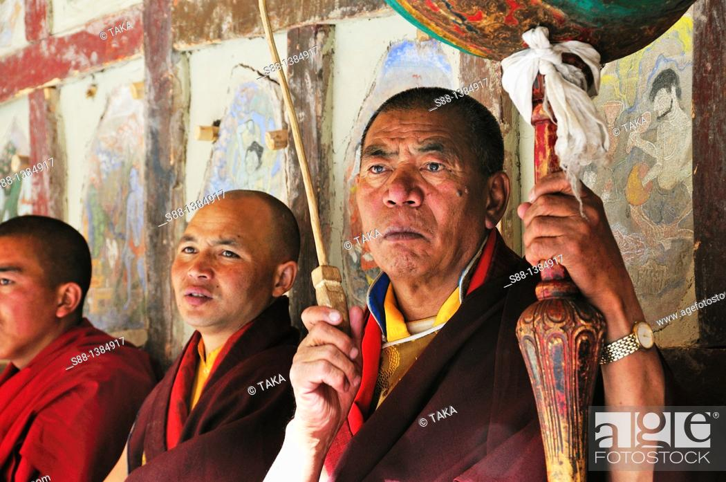 Stock Photo: Buddhist monks during the Chaam Musk Dancing Festival at Hemis Gompa.