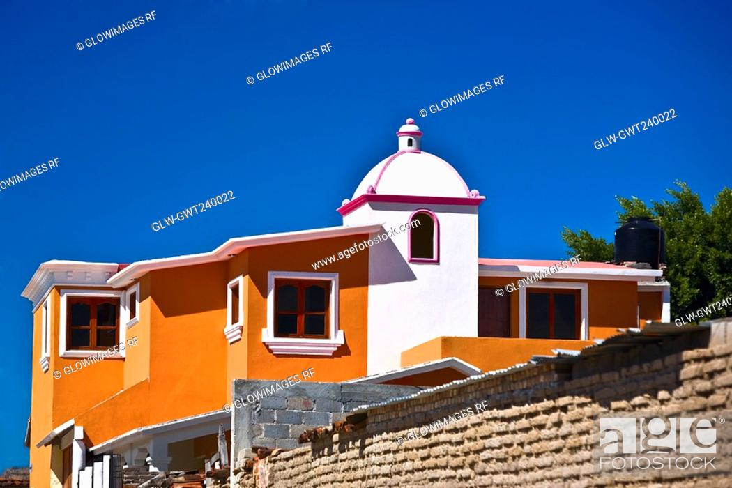 Stock Photo: Low angle view of a building, Mitla, Oaxaca State, Mexico.