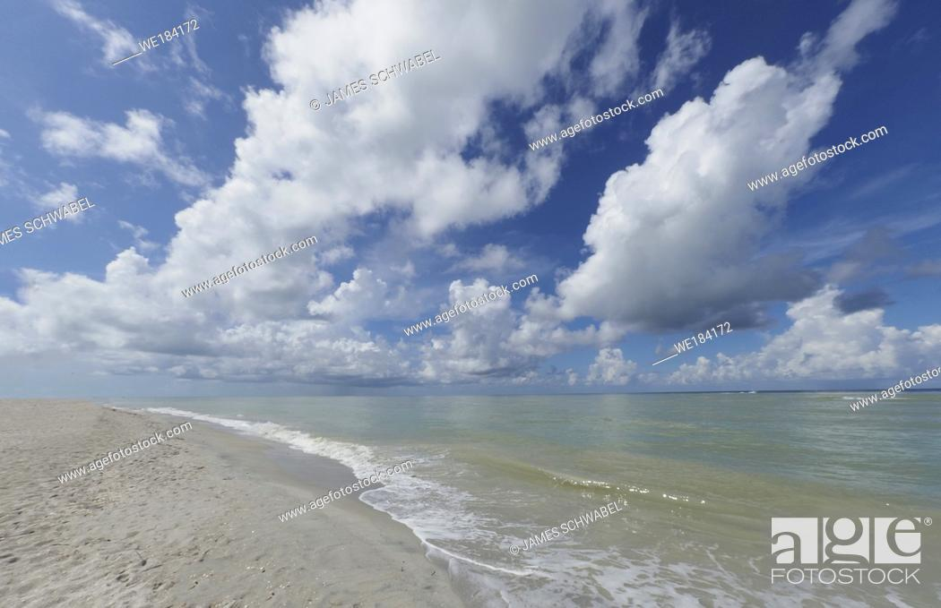 Stock Photo: Blind Pass Beach on the Gulf of Mexico on Sanibel Island Florida.