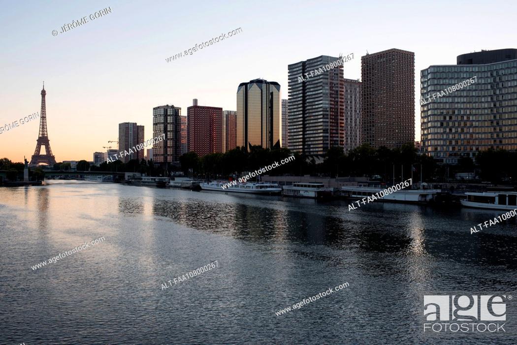 Stock Photo: High rise buildings along the Seine River, Paris, France.
