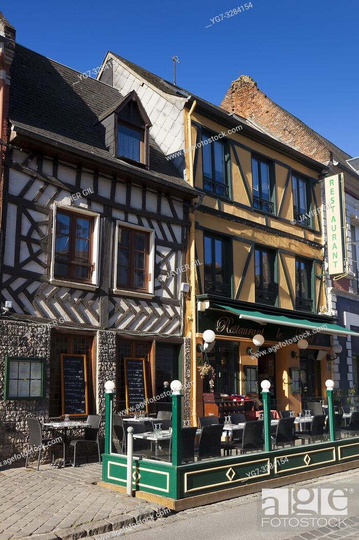 Stock Photo: Street of Saint-Valery-sur-Somme, Somme, Hauts-de-France, France.