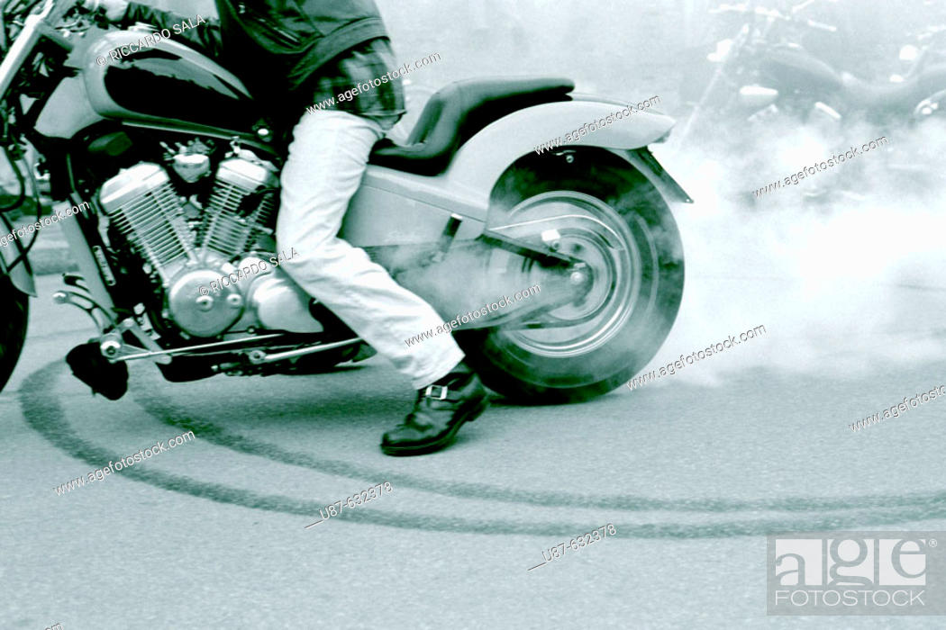 Stock Photo: Italy, Lombardy, Pandino. Meeting of motorcycles.