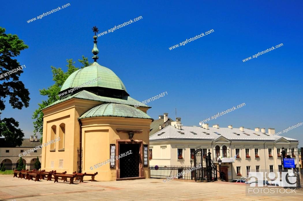 Stock Photo: Chapel and belfry next to the cathedral. Kielce, swietokrzyskie Voivodeship, Poland.