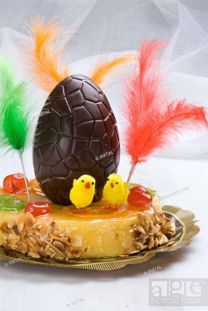 Stock Photo: 'Mona de Pascua' typical Spanish Easter cake.
