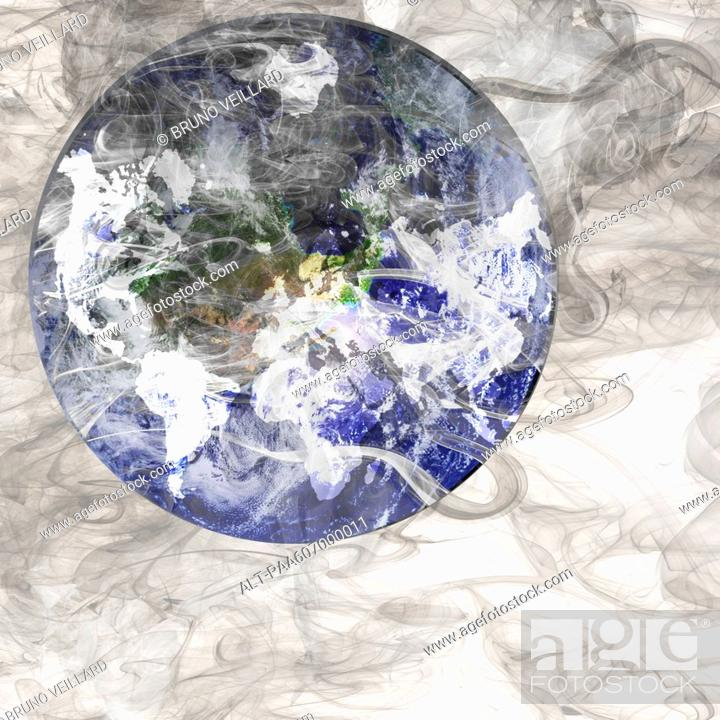 Stock Photo: Planet earth shrouded in smoke.