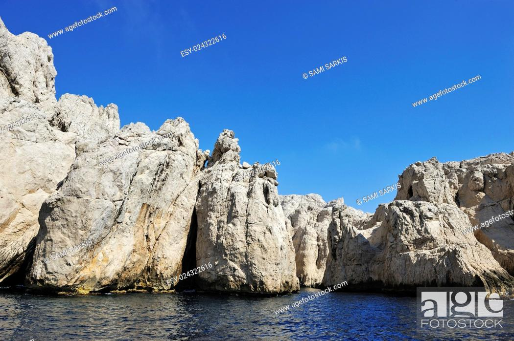 Stock Photo: Calanque des Contrebandiers cliffs, Riou island, Marseille, France, Europe.