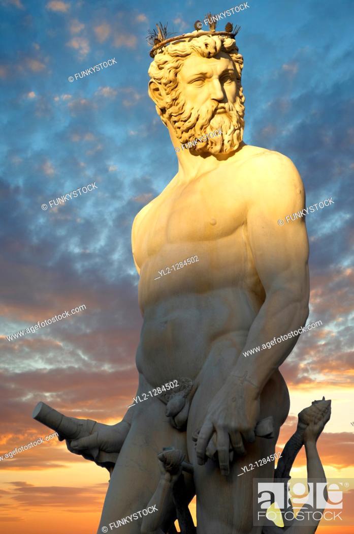 Stock Photo: Fountain & Statue of Neptune - Plazza Della Signora - Florence Italy.