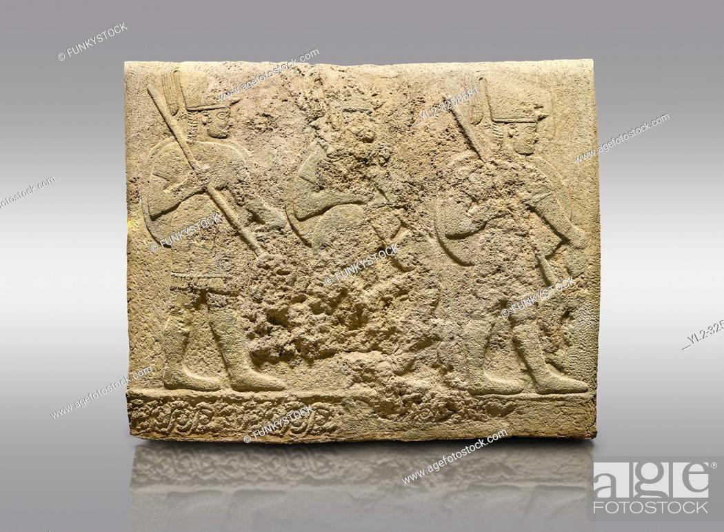 Stock Photo: Hittite relief sculpted orthostat stone panel of Long Wall Limestone, Karkamis, (Kargamis), Carchemish (Karkemish), 900-700 BC.